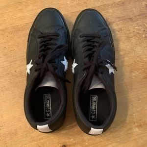 Men's black leather Converse All Star sneakers